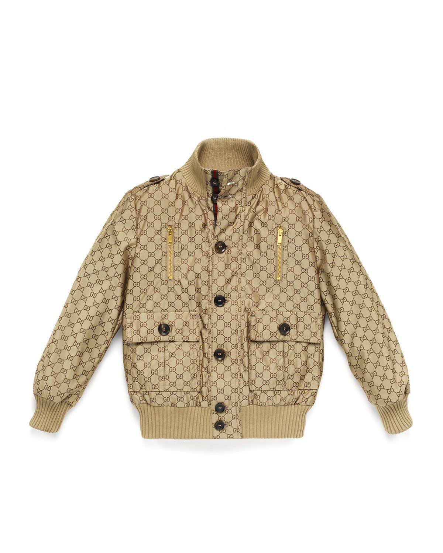 Logo-Jacquard Button-Front Bomber Jacket, Beige, Size 4-12