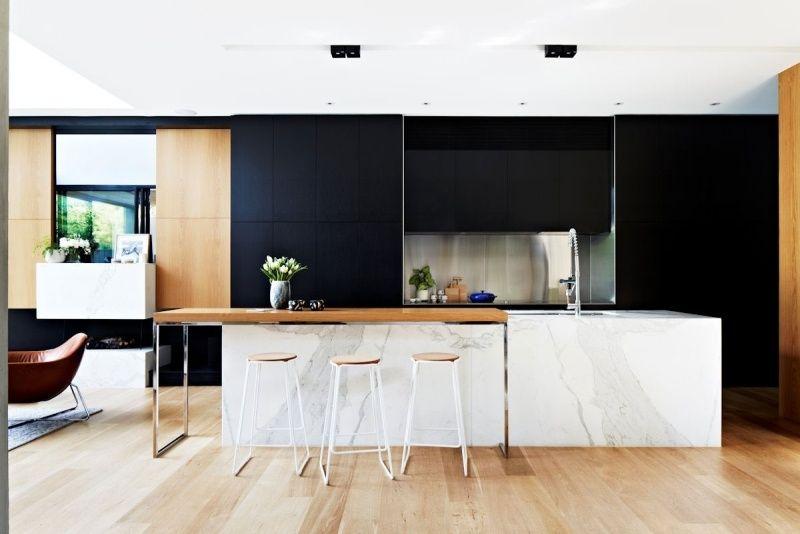 Aménagement cuisine blanche, noire et bois- 35 idées cool Kitchens - Table De Cuisine Avec Plan De Travail
