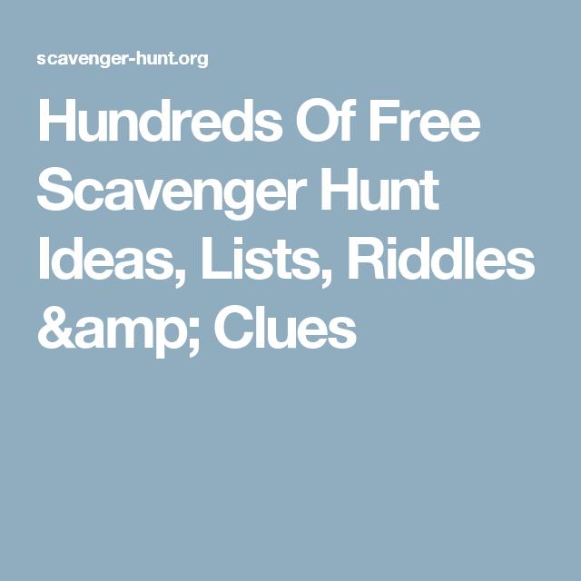 Christmas Gift Scavenger Hunt Riddles: Hundreds Of Free Scavenger Hunt Ideas, Lists, Riddles