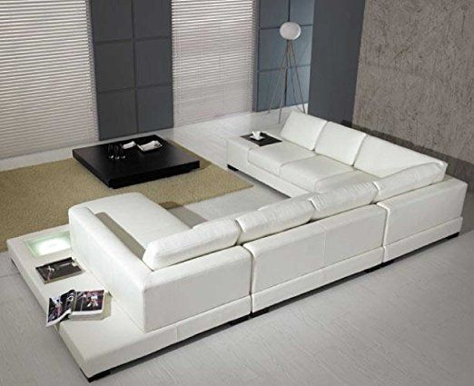 Amazon Com T35 White Bonded Leather Sectional Sofa Set With Light Kitchen Dining Living Room Furniture Sofas Sofa Design Leather Sofa