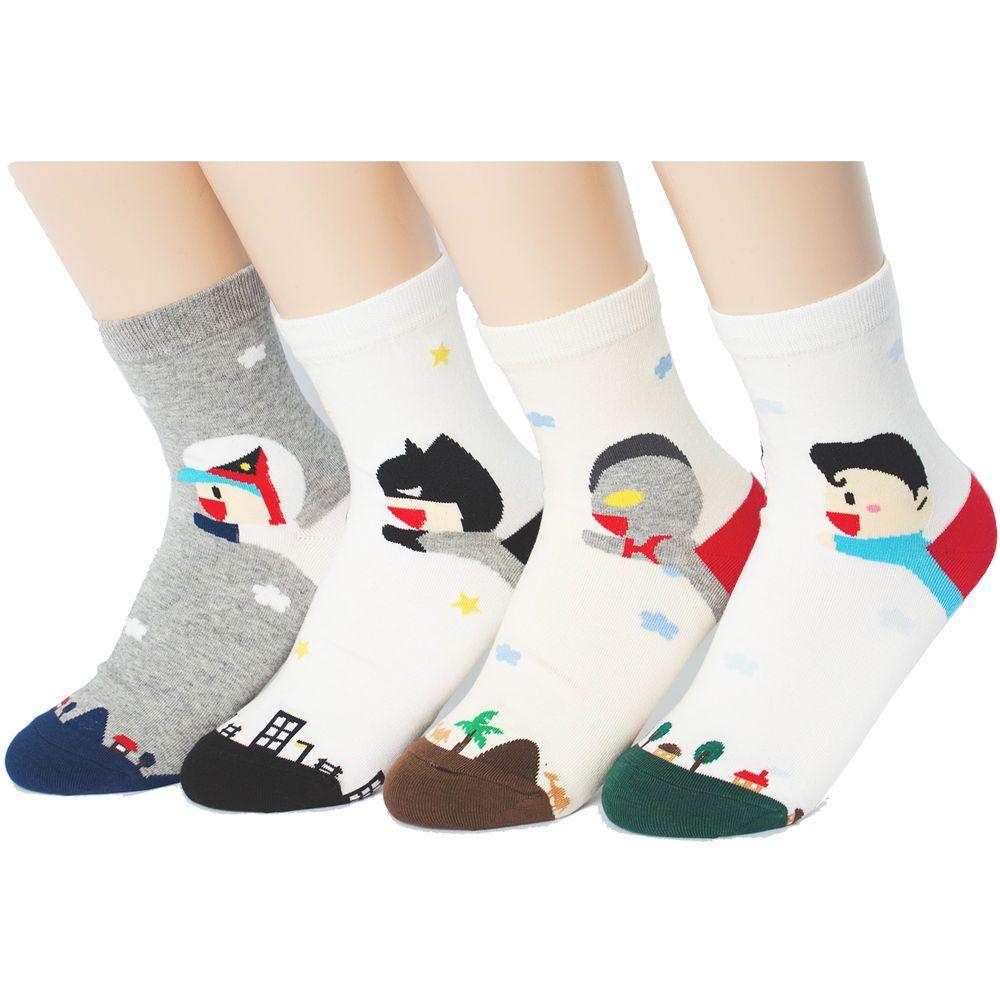 FLYING HERO SOCKS 4PAIRS=1PACK Made in KOREA women woman girl big kids funny sox #MADEINKOREA #allStyle