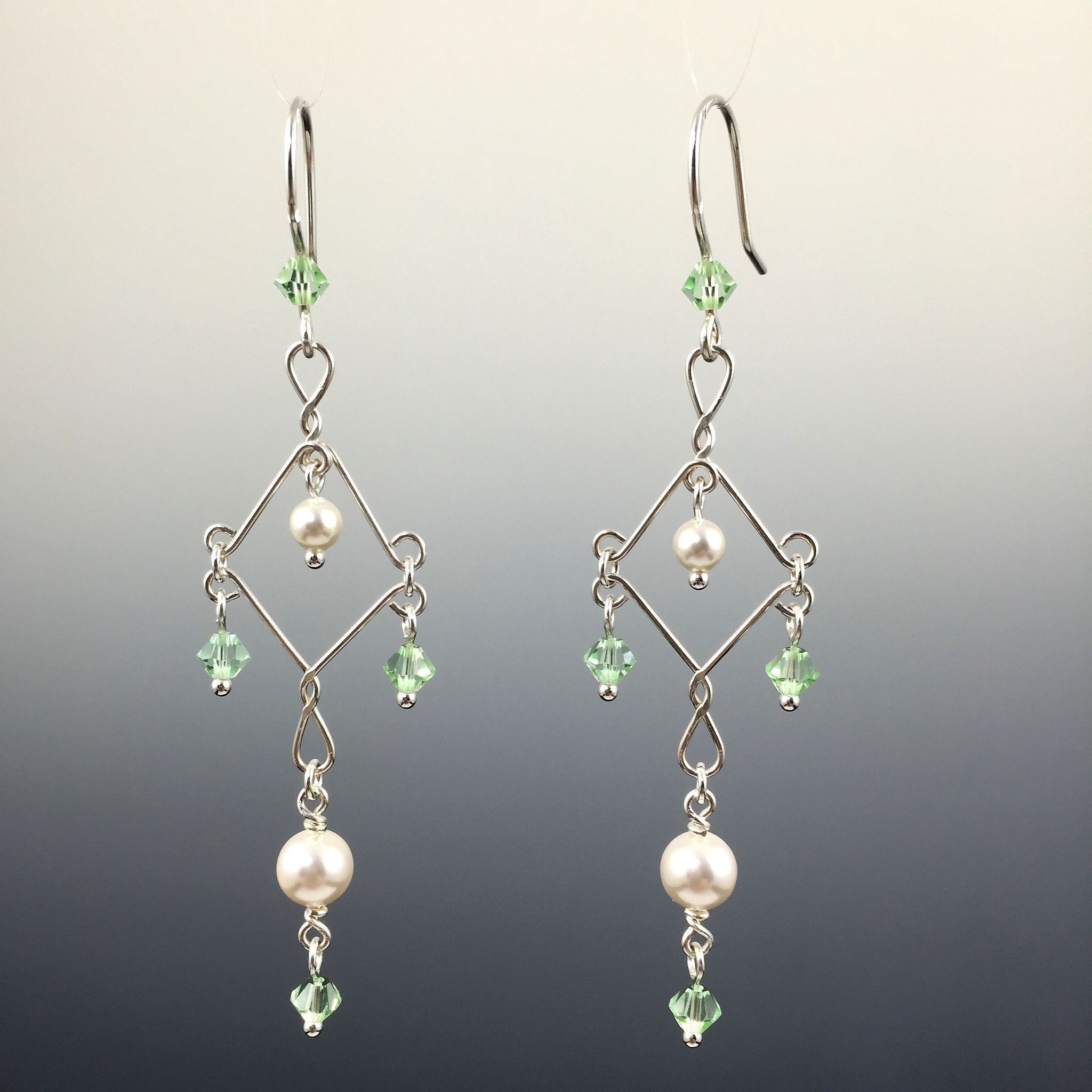 product post matte pearl pearls earrings swarovski crystal silver leaves white wedding original jewelry