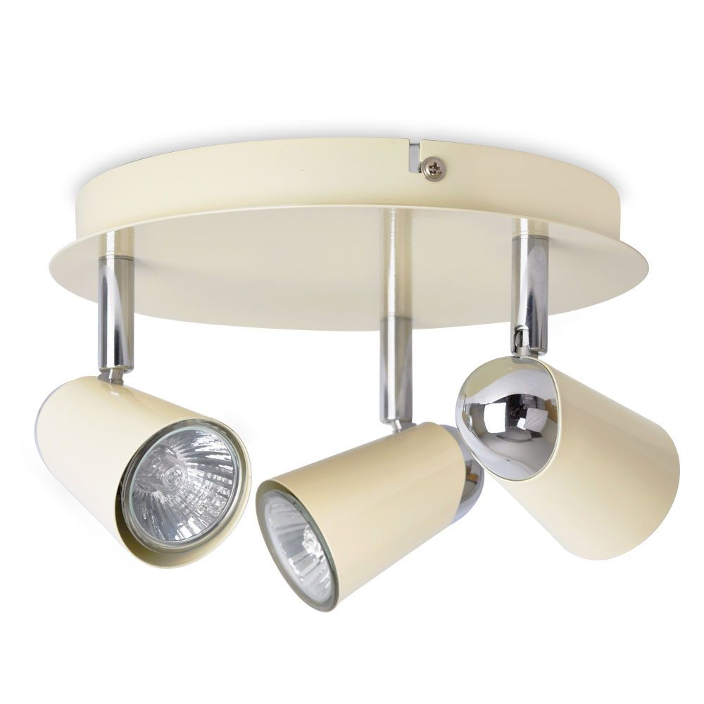 Modern Cream Chrome Way Round Kitchen Ceiling Spot Light - Kitchen spot light fittings