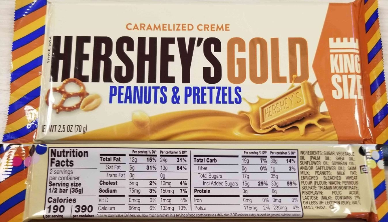 HERSHEY'S GOLD Caramelized Crème Candy Nutrition facts