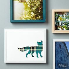 DIY plaid fox silhouette art - so easy and such a cute modern spin on fall decor