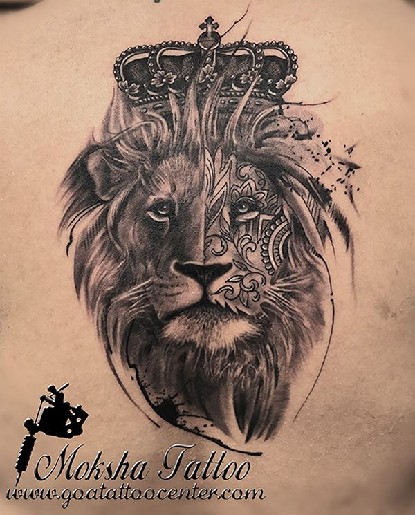 29309ab4543ee Realistic King Lion Tattoo with Crown done by Mukesh Waghela at Moksha  Tattoo Studio Goa India.