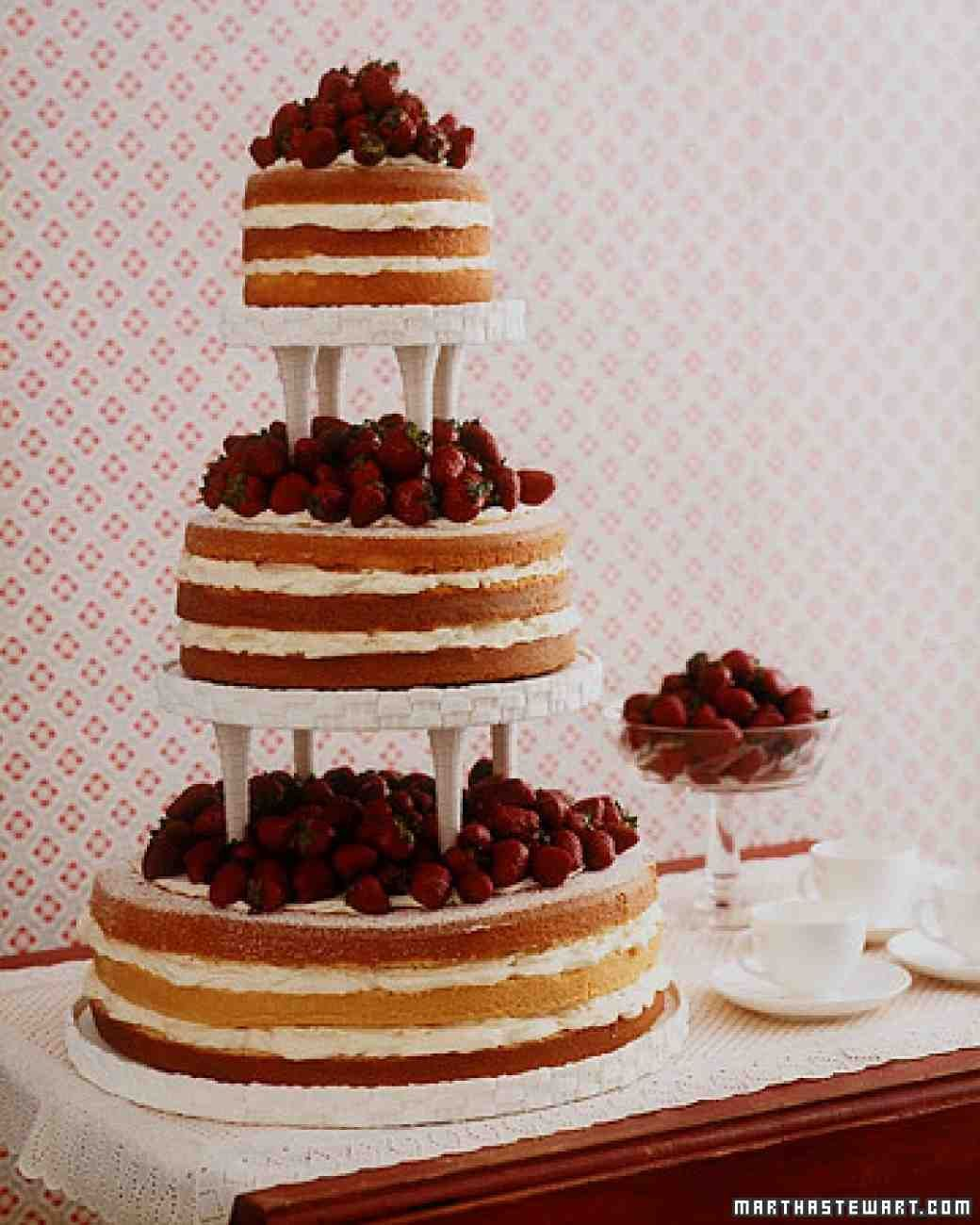 Fresh Strawberries Top Stacked Pound Cakes Instead Of The