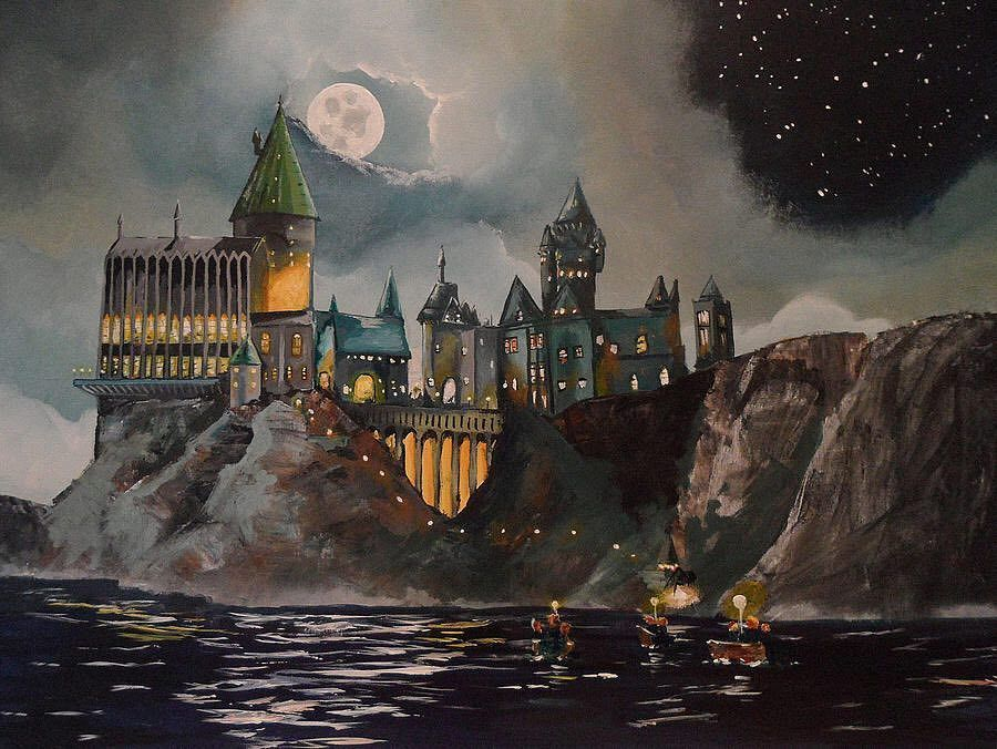 The Narrow Path Had Opened Suddenly Onto The Edge Of A Great Black Lake Perched Atop A High Mountain On The Other Side Its Windows Sparkling In Hogwarts Painting Harry