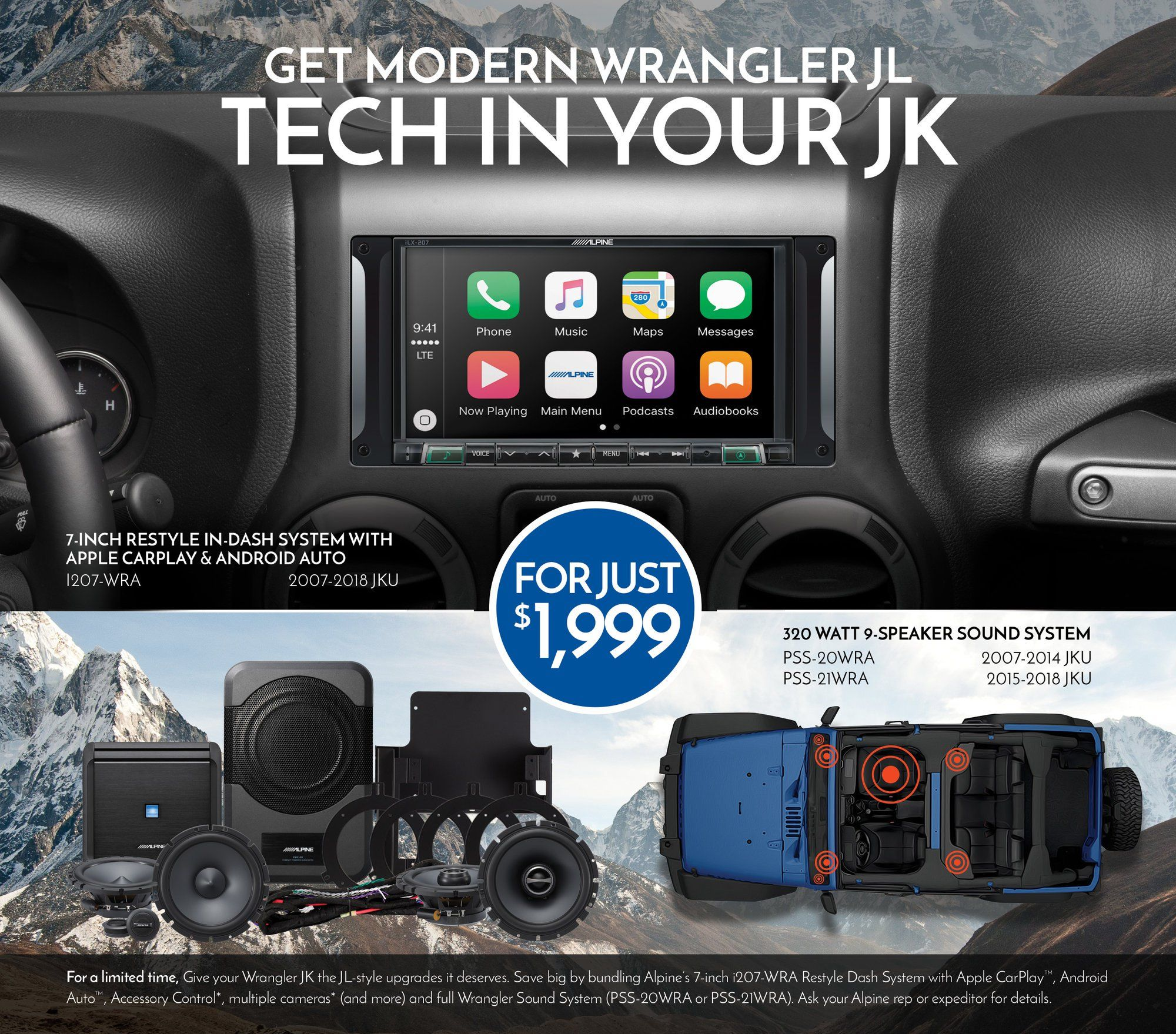 Alpine Has Combined The Alpine I207 Wra With The Power Of Their Full Sound System Upgrade So You Can Get Mod Sound System Jeep Wrangler Unlimited Jeep Wrangler