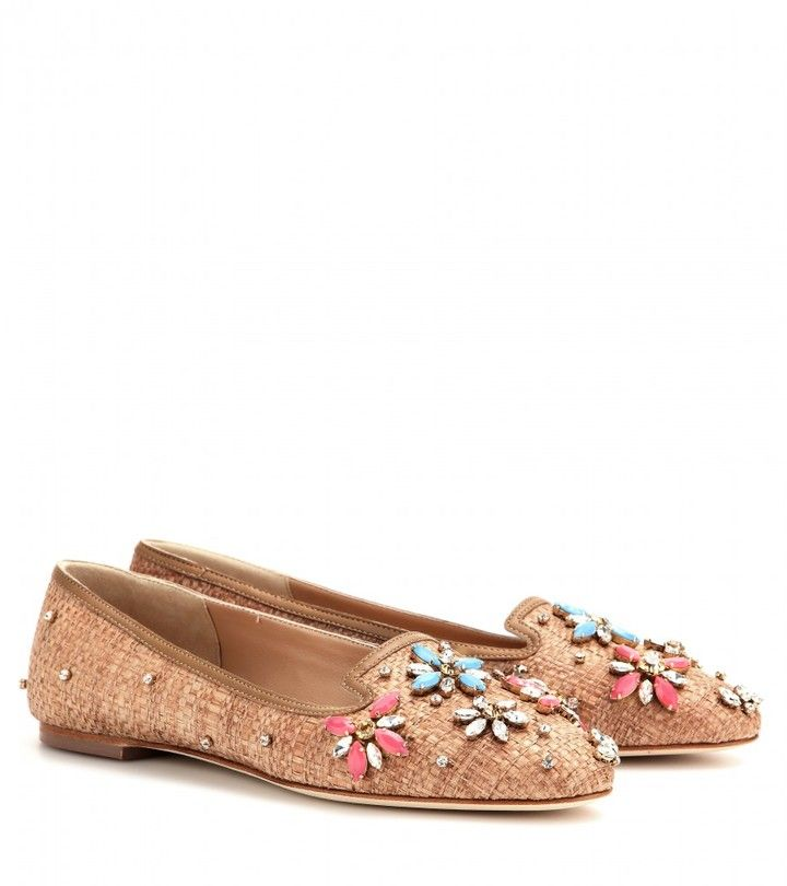 114fcf63da3 Dolce   Gabbana Embellished straw and leather pumps on shopstyle.com ...