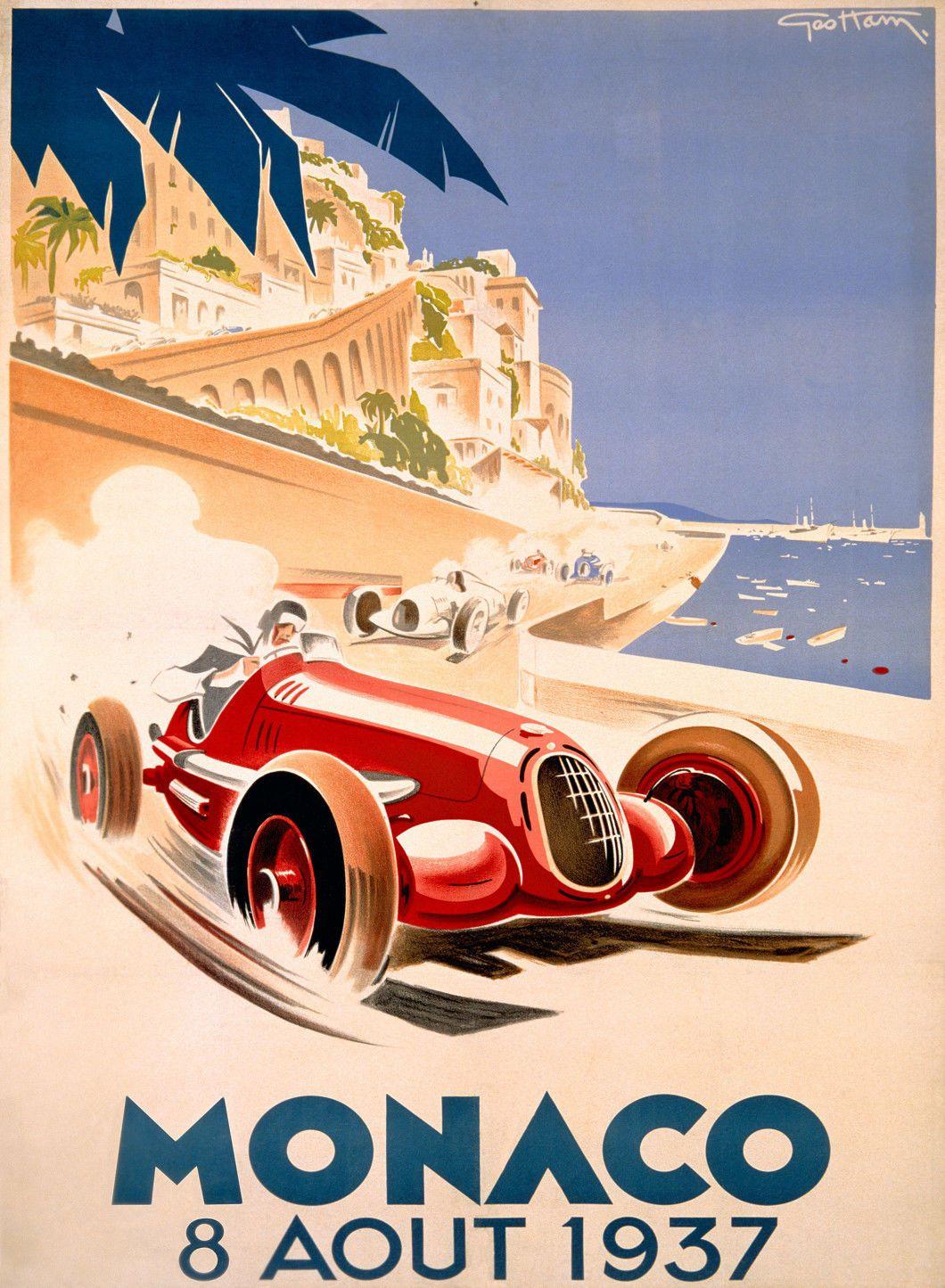 METAL VINTAGE SHABBY-CHIC GRAND PRIX MONACO 1934 TIN PLAQUE FRIDGE MAGNET