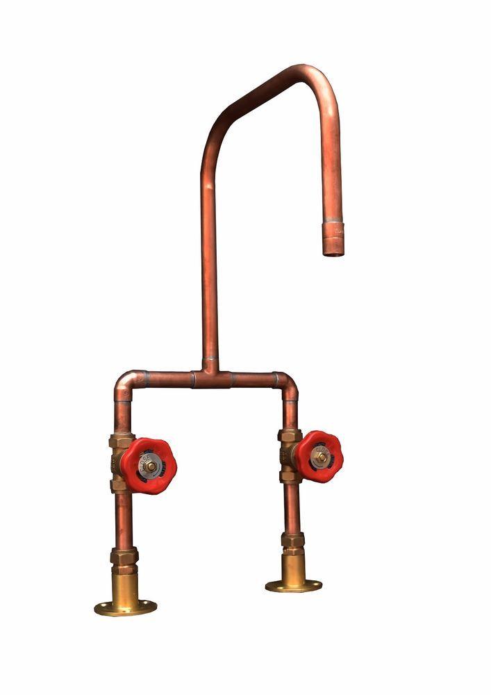 Handmade Copper Pipe Kitchen Basin Bath Mixer Tap Vintage Antique