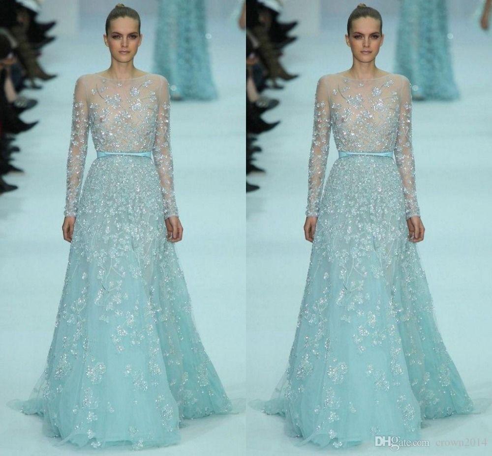Günstige Ice Blue Zuhair Murad Abendkleider 2017 Long Sleeve ...