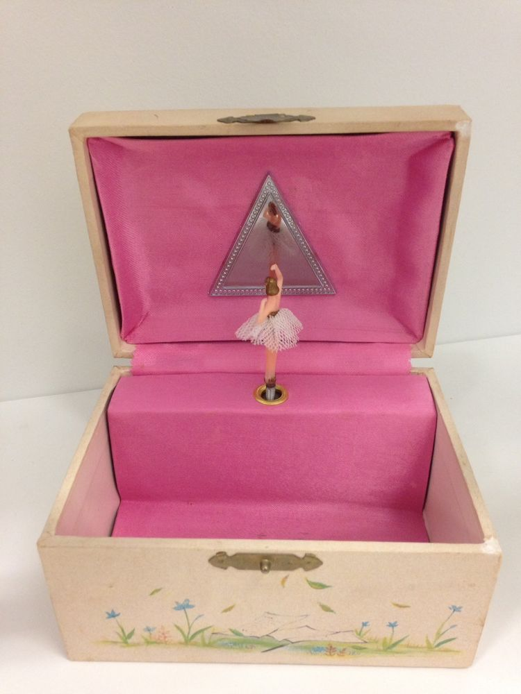 Vintage Musical Ballerina Jewelry Box Holly Hobbie Style Trinket Box