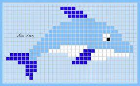 Ceci Est Dauphin Très Facile A Réaliser Pixel Art Dauphin
