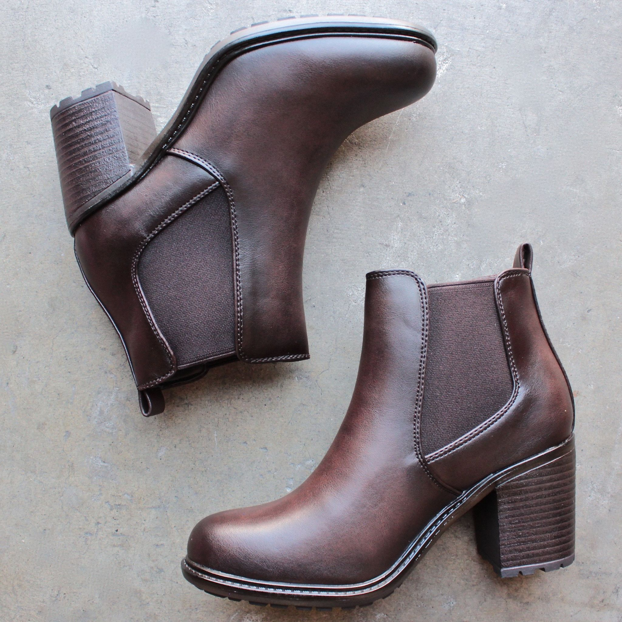 0b259ec6c80f Chunky heel vegan leather chelsea boots - dark brown | { shophearts ...