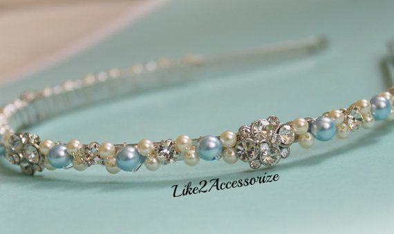 b02cd30e501ff1 An elegant handmade beaded silver metal headband made with all Swarovski  pearls and rhinestone wrapped with
