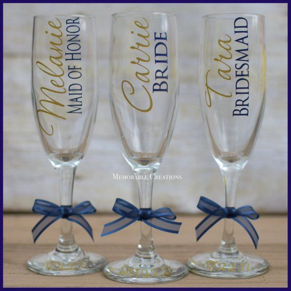 FAST SHIPPING-Personalized Wedding Champagne Flutes for Bride and Bridesmaids, Bridal Party #personalizedwedding