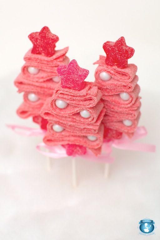 10 Pink Christmas Tree Candy Kabobs Brochetas de dulces, Brochetas