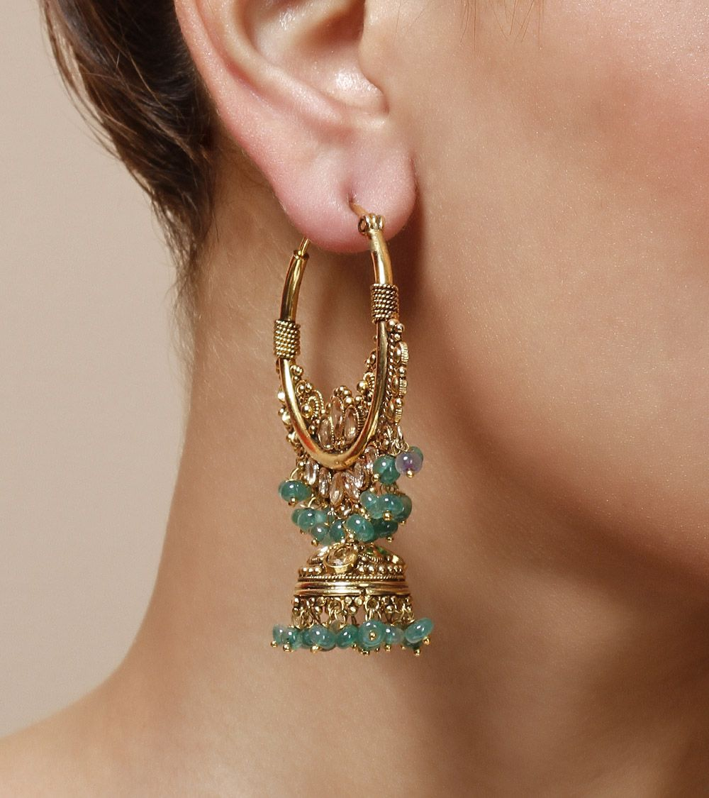 Green Stone Embellished Jhumki Earrings by Indiatrend Shop now on www.indianroots.com
