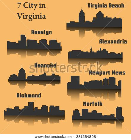 7 City in Virginia ( Richmond, Alexandria, Virginia Beach, Rosslyn, Roanoke, Norfolk, Newport News ) - stock vector