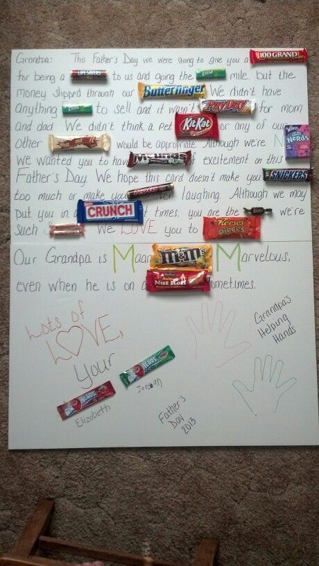 Father's Day candy card for grandpa from his two grandkids