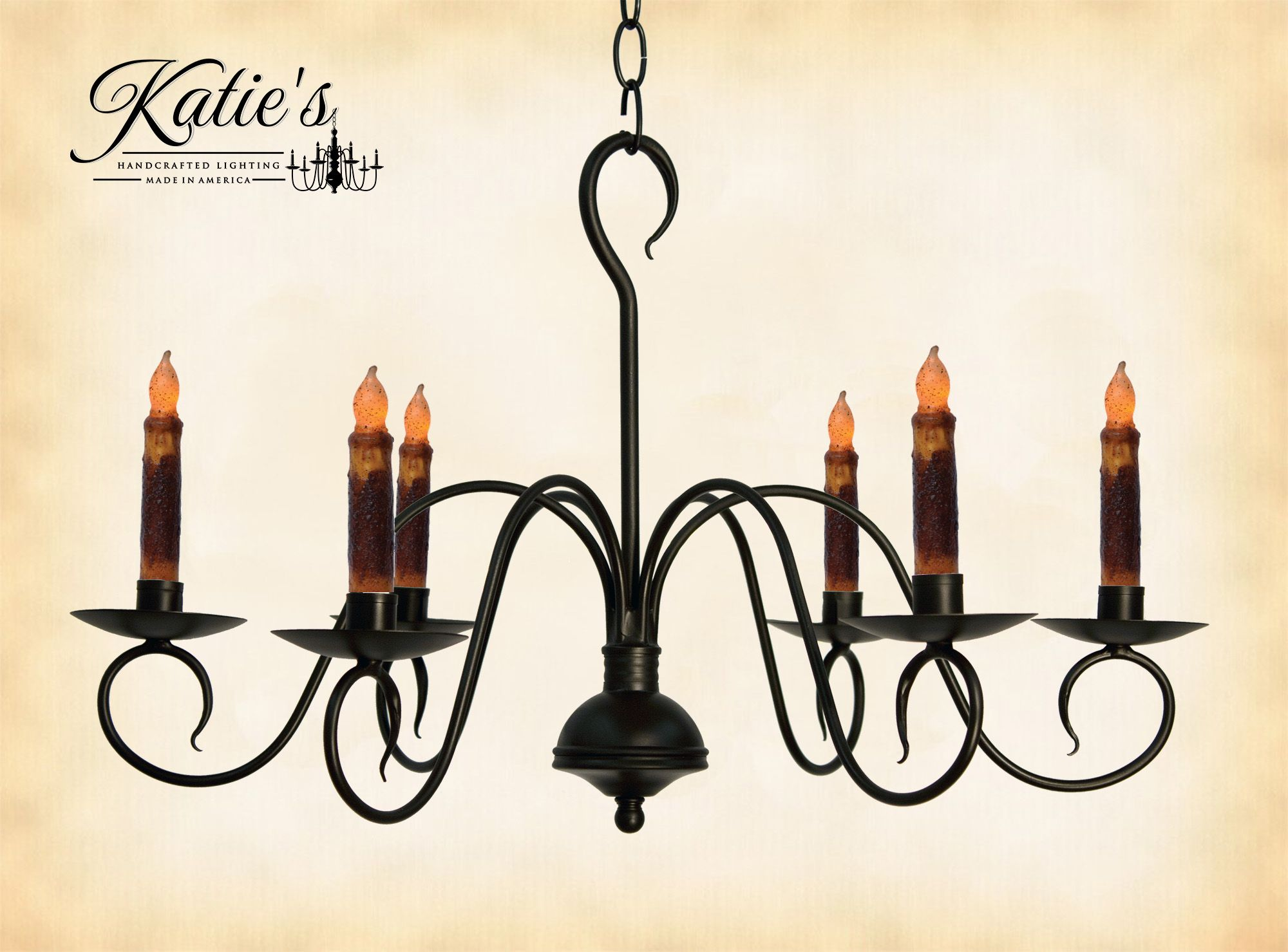 Franklin Wrought Iron Candle Chandelier by Katies Handcrafted