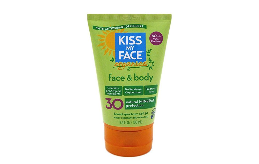 Kiss My Face Organics Face & Body Sunscreen, SPF 30 https://www.rodalewellness.com/health/safest-toxic-beach-sport-sunscreens-2017/slide/14