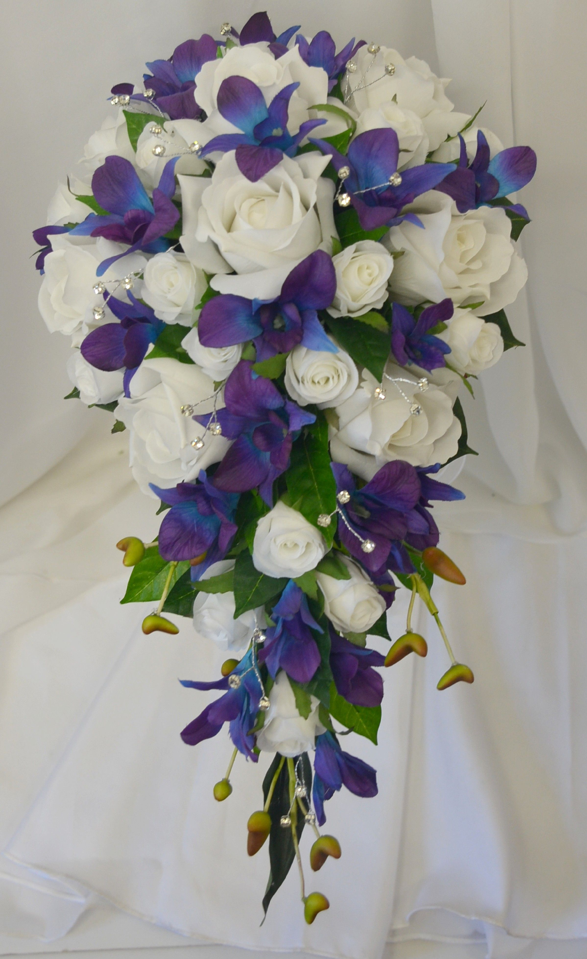 Blue Purple Singapore Orchids Cream White Roses And Diamante Teardrop Bouquet Flower Bouquet Wedding Purple Wedding Flowers Winter Wedding Flowers