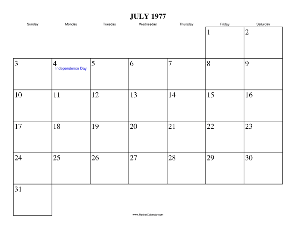 Free Printable Calendar For July 1977 View Online Or Print In Pdf