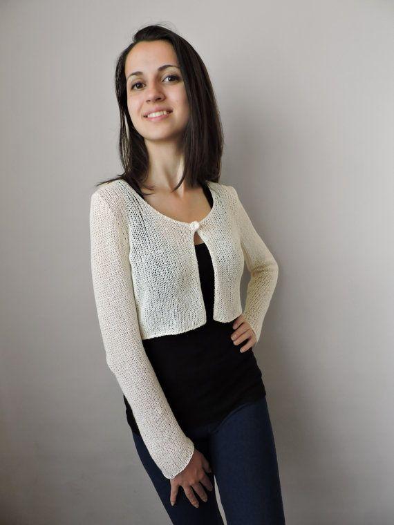 Bridal bolero Knit bolero Cropped cardigan Ivory Crop sweater Long ...