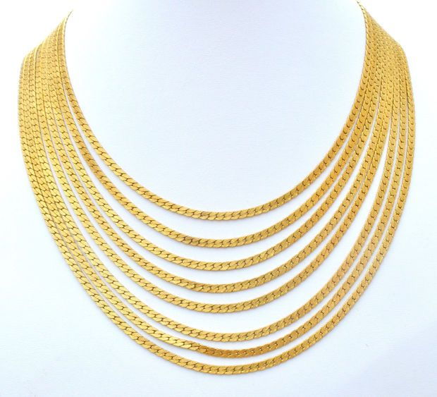 Monet Multi Strand Gold Tone Bib Vintage Necklace Vintage Jewels I