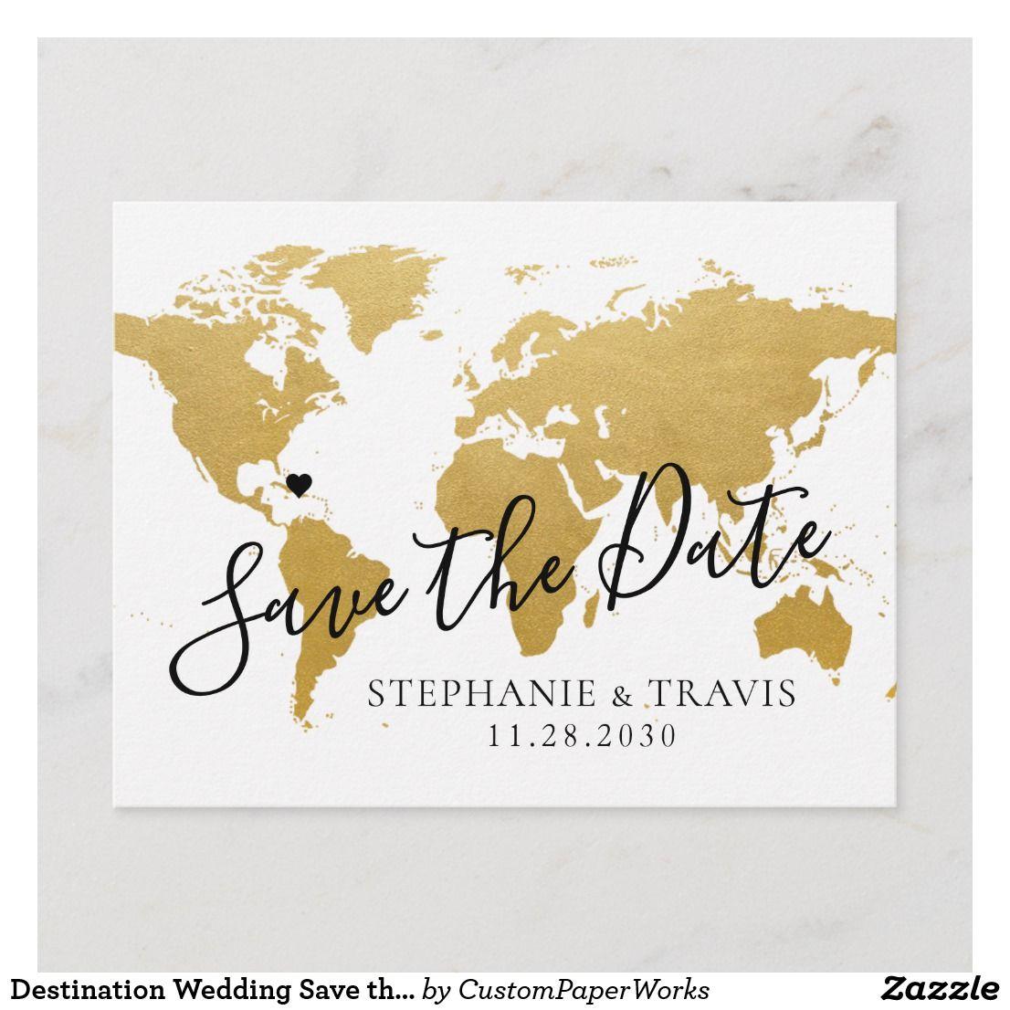 Destination Wedding Save The Date Gold Map Announcement Postcard Zazzle Com Destination Wedding Save The Dates Wedding Saving Save The Date Postcards