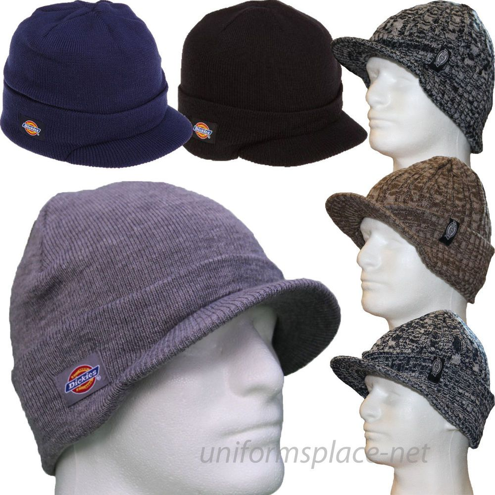 Dickies Beanie Hat Men Billed Knit Cap w/cuff Double Layered Visor Winter  Hats