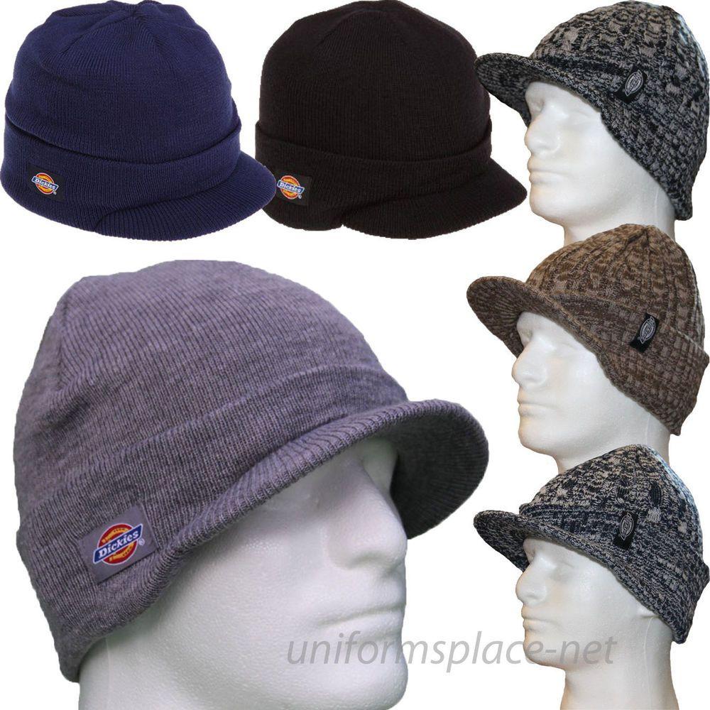 f196a7f23d578 Dickies Beanie Hat Men Billed Knit Cap w cuff Double Layered Visor Winter  Hats