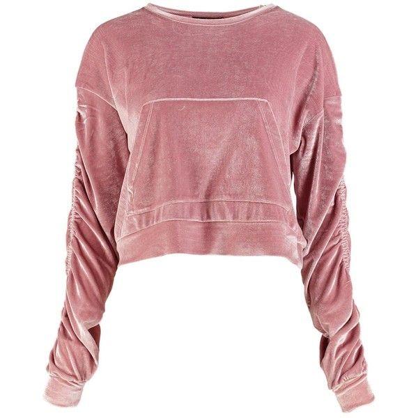 Rose Off Shoulder Crop Sweatshirt