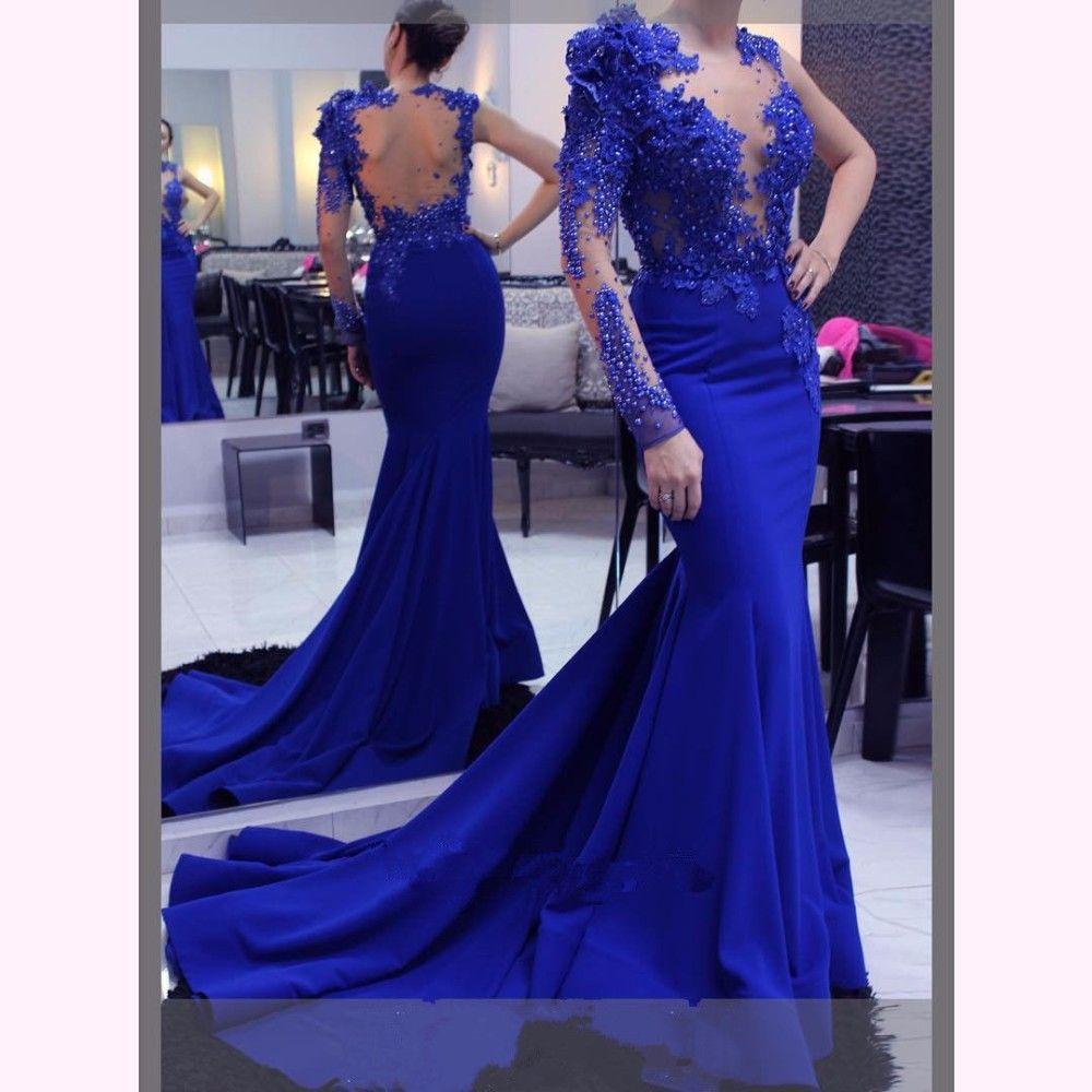 Mirusponsa long evening dressmermaid abendkleider lace royal blue
