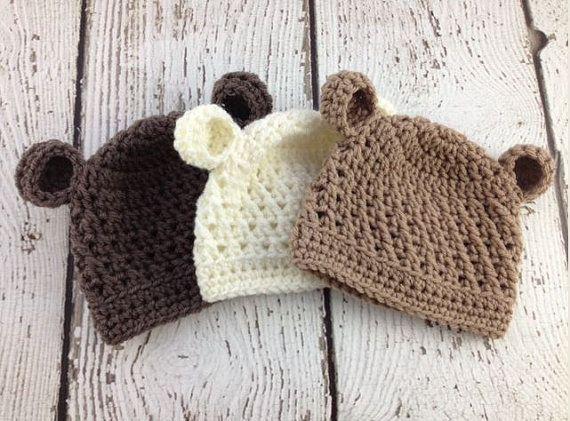 Baby Boy Hat, Baby Girl Hat, Baby Bear Hat, Crochet Baby Bear Hat ...