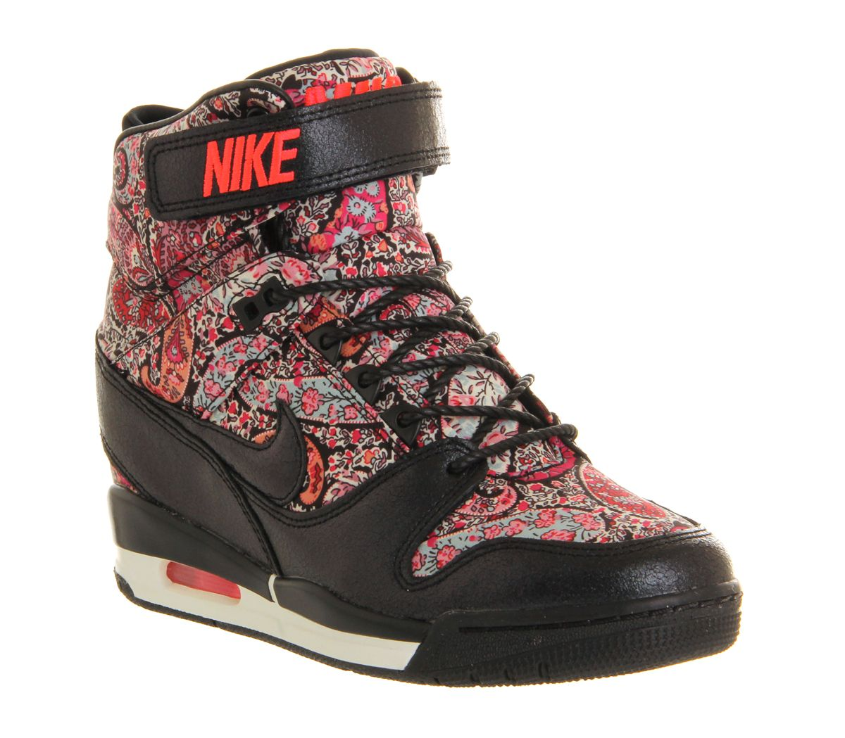 Nike Air Revolution Sky Hi Black Solar Red Liberty Qs Trainers Shoes,  Multi-Coloured