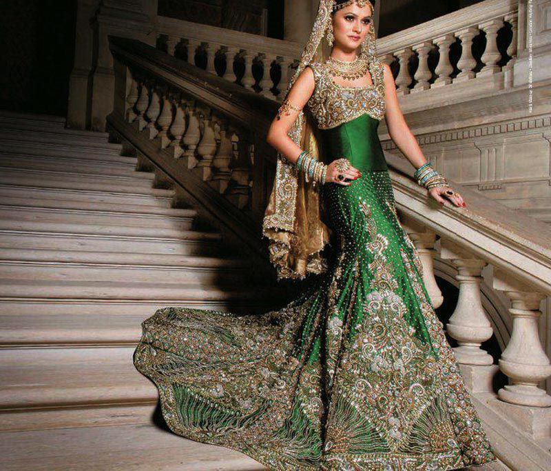 Latest Stani Indian Bridal Wear Tail Lehnga For Walima Reception Wc 07