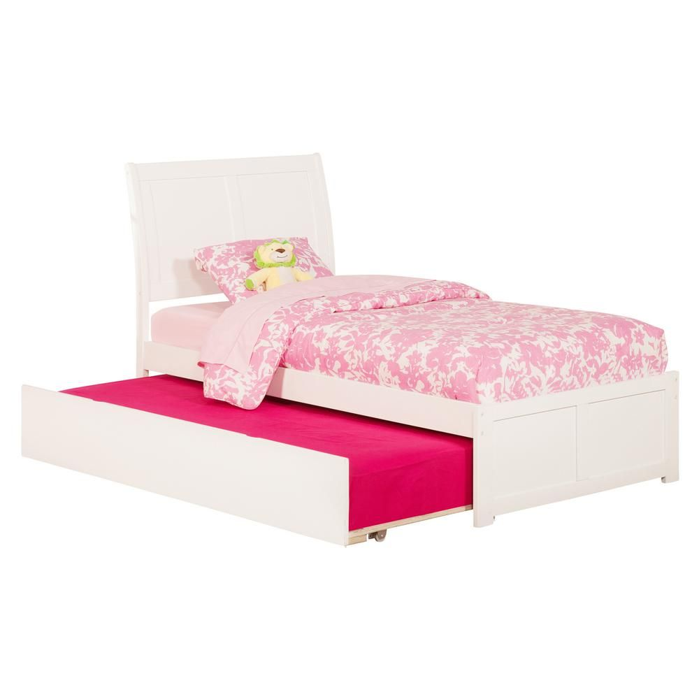 Atlantic Furniture Portland White Twin Platform Bed With Flat Panel Foot Board And Twin Size Urban Trundle Bed Atlantic Furniture Bookcase Bed Bed Furniture