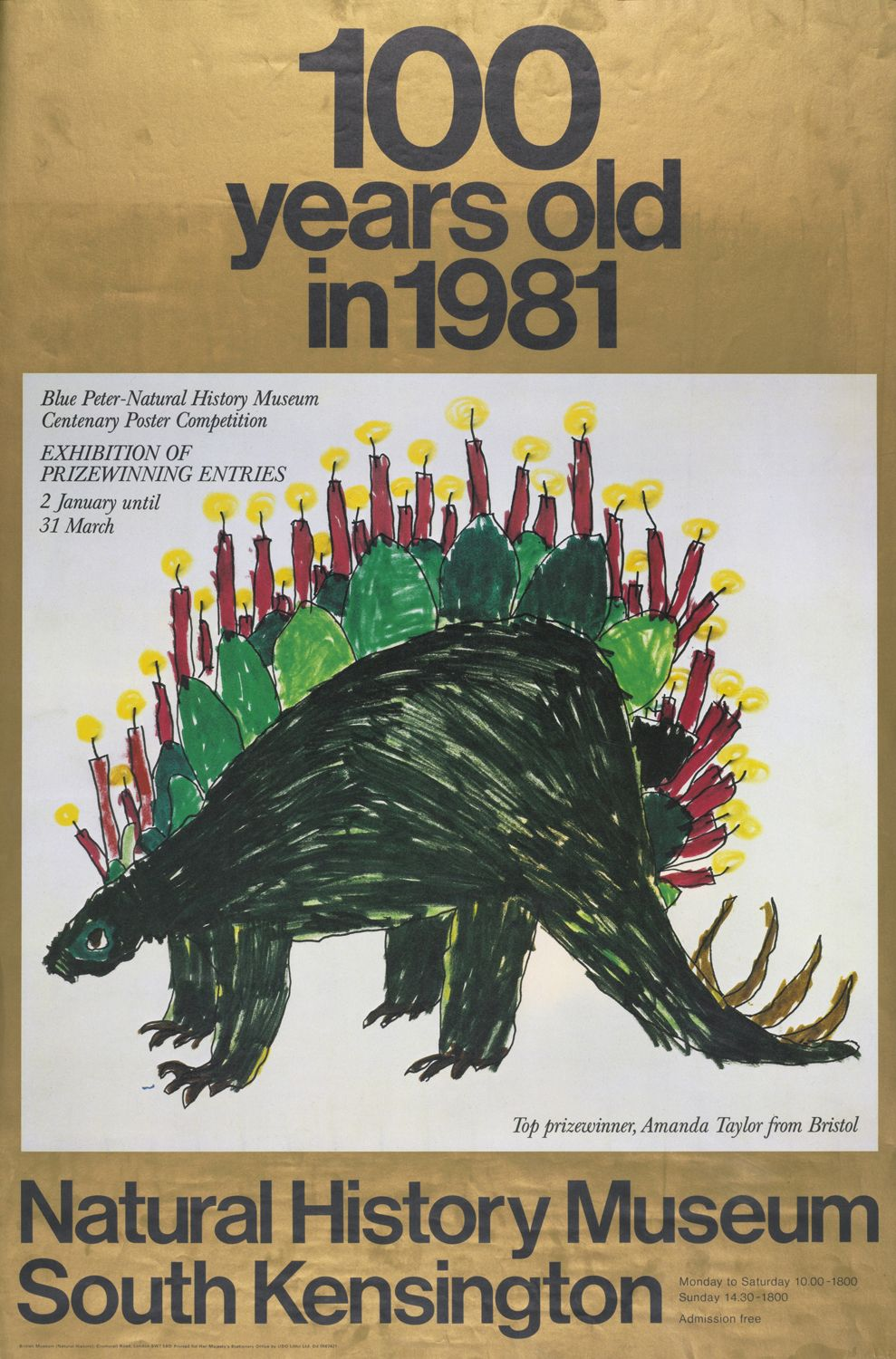 Poster design top 10 - A Poster Celebrating The Museum S Centenary In 1981 Featuring The Winning Design From The Blue
