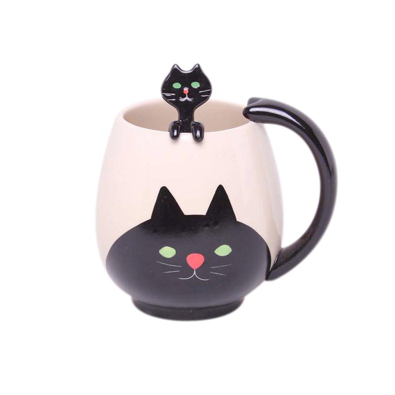 Prehelife Lovely Cartoon Black Cat Mug Ceramic Coffee Mug Milk Tea Cup Spoon Cup Mat Insider S Special Painted Coffee Cup Hand Painted Cat Animal Mugs