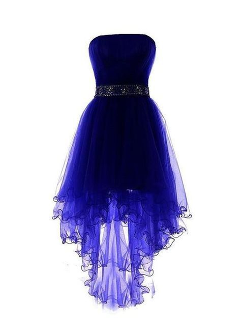 Photo of Royal Blue Tulle High Low Scoop Homecoming Dresses, Blue Party Dress,High Low Formal Dress