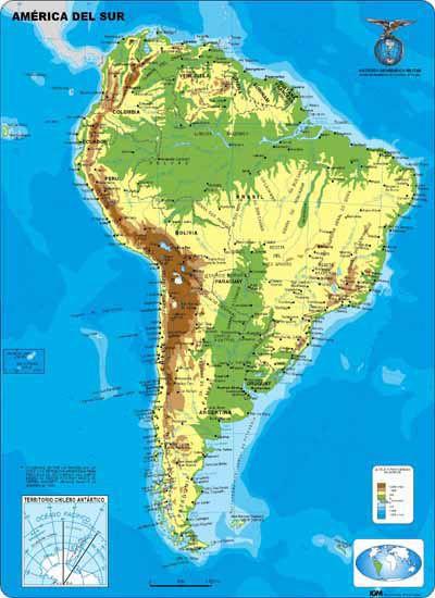 mapa fisico de america del sur  de bsqueda  America  Pinterest