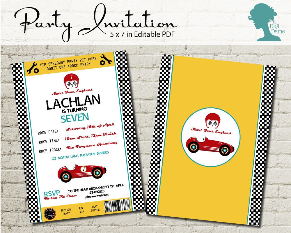 Car Speedway Racing Party Invitation $10AUD by The Digi Dame ...