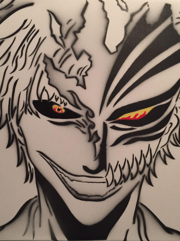 Bleach Ichigo Zangetsu Mask Anime Spray Painting