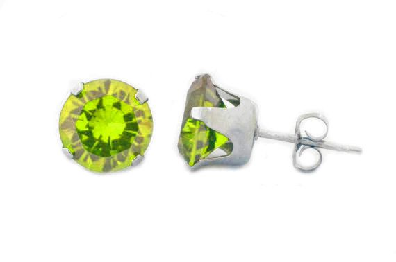 White Gold Peridot Bezel Round Dangle Earrings .925 Sterling Silver Gift For Her Bridesmaid Bridal Wedding Jewelry