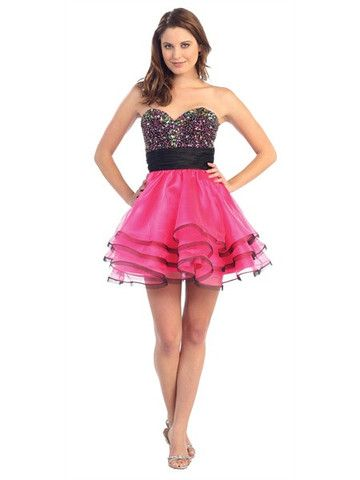 A Line/Princess Strapless Sweetheart Neckline Tulle Home Coming Party Holiday Cocktail Short Prom Dress With Ruffle Beading
