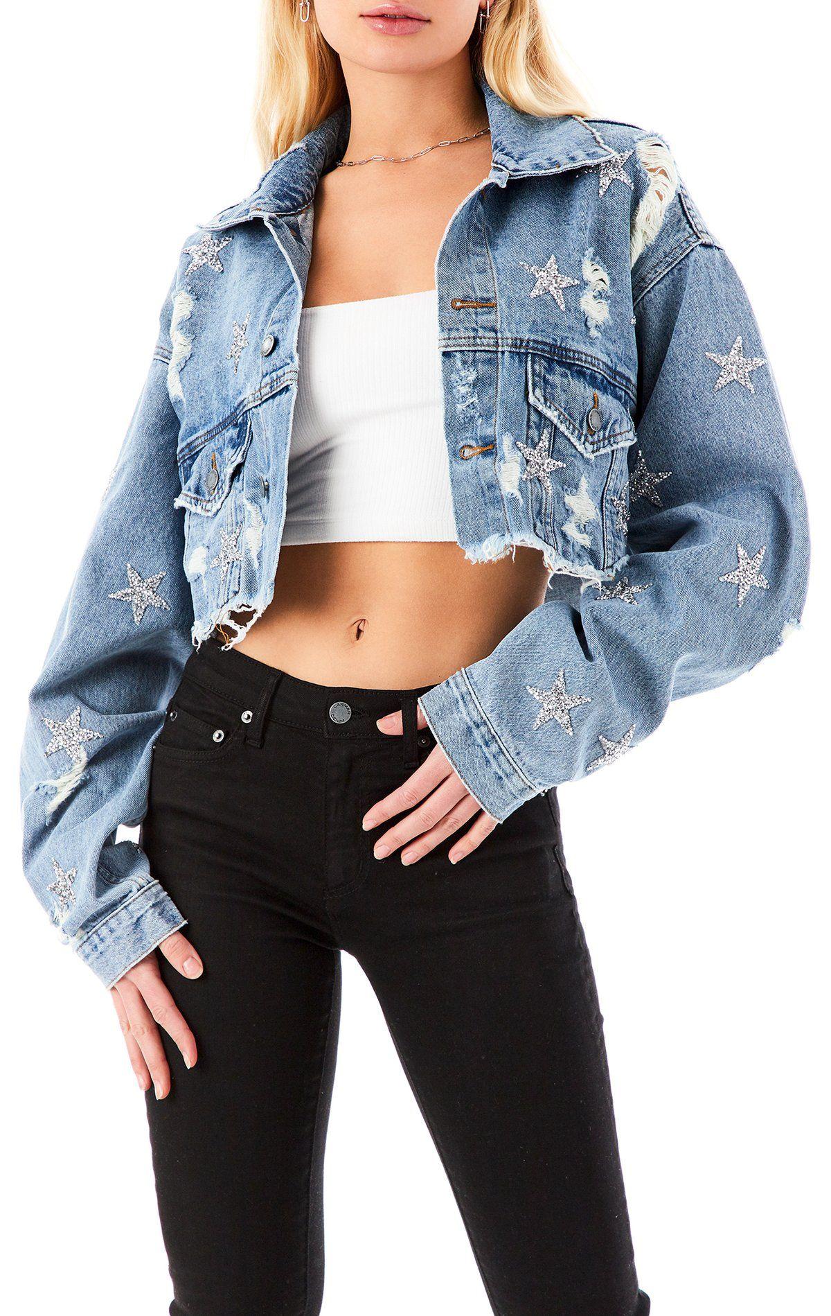 Audrey Ammolite Star Patch Crop Denim Jacket In 2021 Cropped Denim Jacket Denim Jacket Fashion Denim Jacket [ 1899 x 1200 Pixel ]